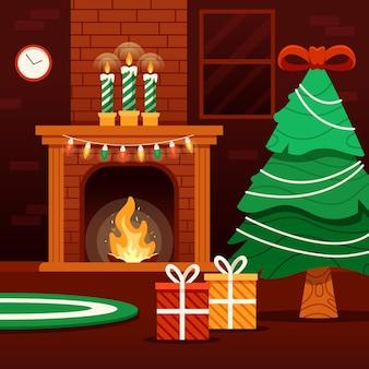 フラットなデザインのクリスマスの暖炉のシーン