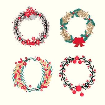 Коллекция рождественских цветов и венков в плоском дизайне