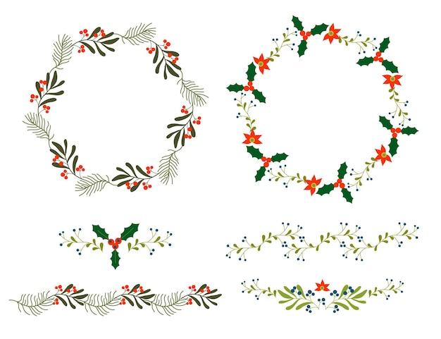 フラットデザインのクリスマスフラワーコレクション
