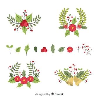 Плоский дизайн рождественской коллекции цветов и венков