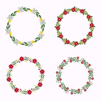 Flat design christmas flower and wreath collection