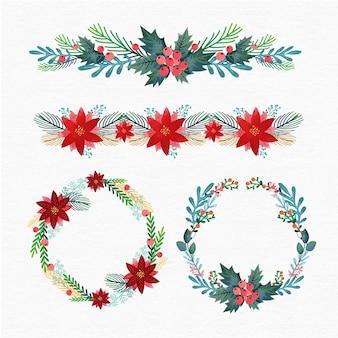 フラットデザインのクリスマスフレームとボーダーコレクション