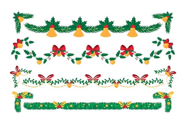 フラットなデザインのクリスマスフレームとボーダーセット