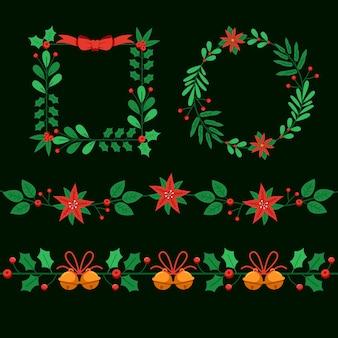 평면 디자인 크리스마스 프레임 및 테두리