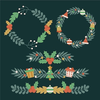 Рождественские рамки и бордюры в плоском дизайне