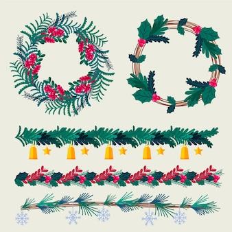Flat design christmas frames and borders