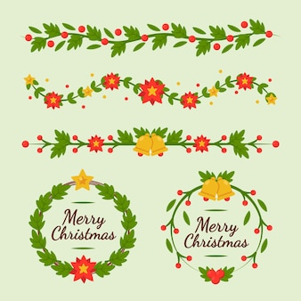 Flat design christmas frames and borders