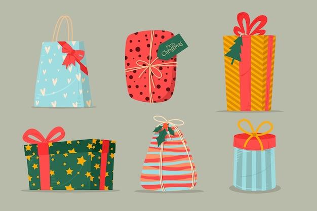 Collezione di regali di natale design piatto
