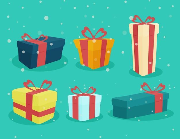 フラットデザインのクリスマスギフトコレクション