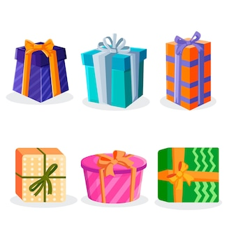 Коллекция рождественских подарков в плоском дизайне