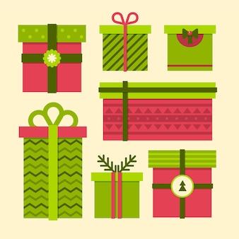 평면 디자인 크리스마스 선물 컬렉션