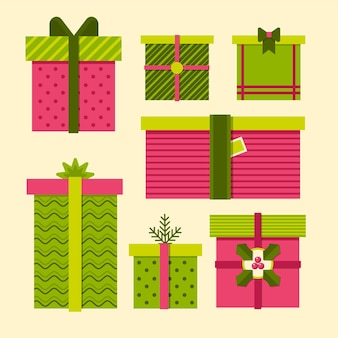 Flat design christmas gift collection