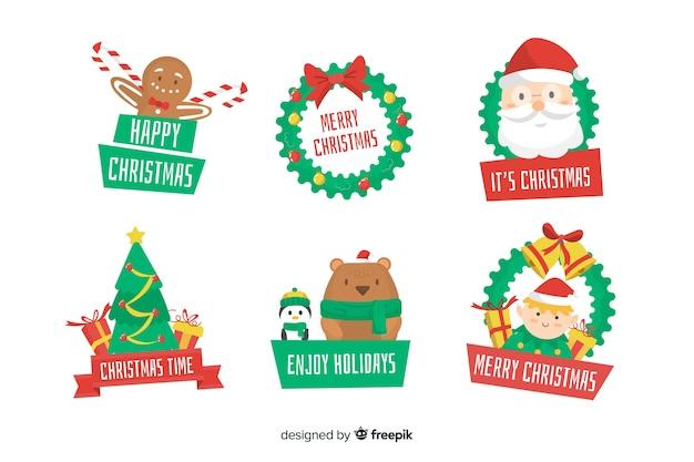 크리스마스 라벨 컬렉션의 평면 디자인