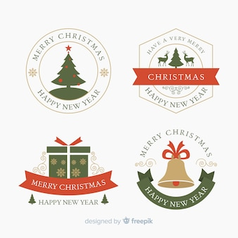 Flat design of christmas label collection