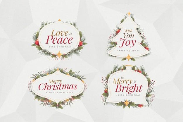 Confezione di etichette natalizie design piatto