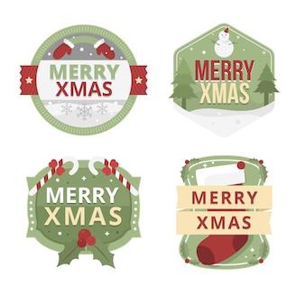 Set di etichette natalizie design piatto