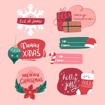 Рождественский набор этикеток в плоском дизайне