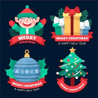 Плоский дизайн рождественских этикеток