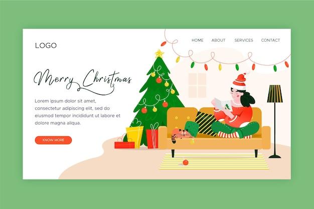イラスト付きフラットデザインのクリスマスのランディングページテンプレート