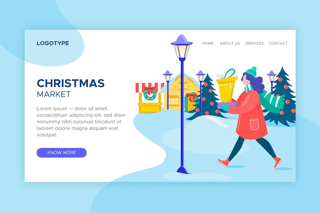 Flat design christmas landing page template