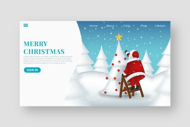 Flat design christmas landing page template