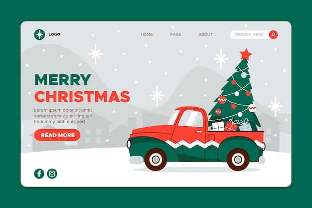 Плоский дизайн рождественского шаблона целевой страницы