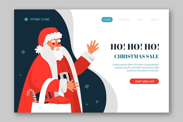 Flat design christmas landing page with santa claus template