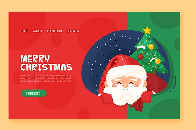 Flat design christmas landing page with santa and tree