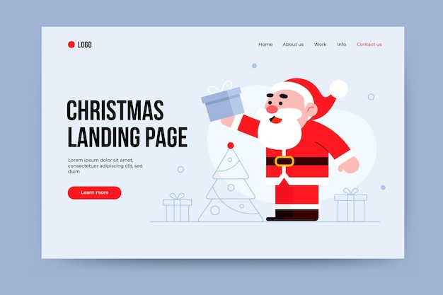 Flat design christmas landing page with santa