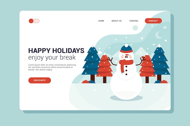 Flat design christmas landing page with snowman