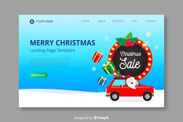 Flat design christmas landing page