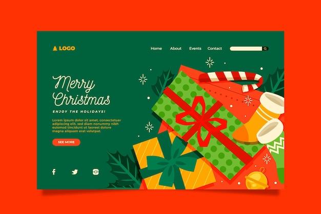 フラットデザインのクリスマスのランディングページ