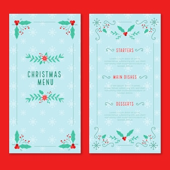 Flat design christmas menu template set