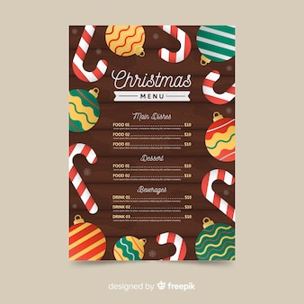 Flat design of christmas menu template
