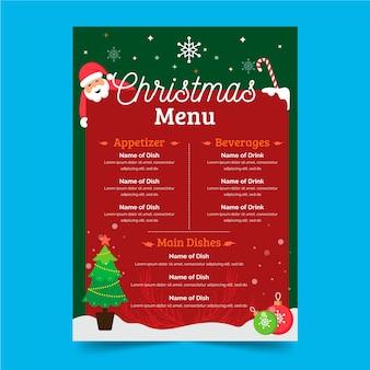 Flat design christmas menu template