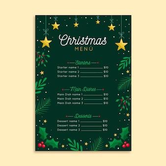 フラットデザインのクリスマスメニューテンプレート