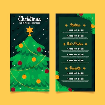 Flat design christmas menu template Premium Vector