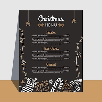 Flat design christmas menu template Free Vector
