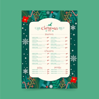 Flat design christmas menu template