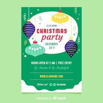 Flat design christmas party flyer template