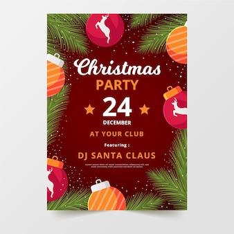 フラットデザインのクリスマスパーティーチラシテンプレート