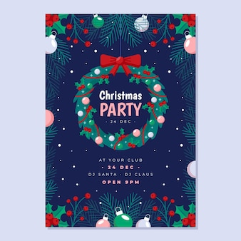 Flat design christmas party flyer