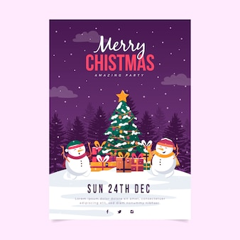 Flat design christmas party poster template