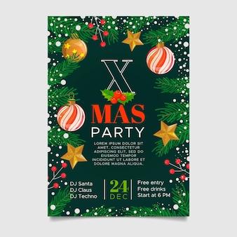 フラットデザインのクリスマスパーティーポスターテンプレート