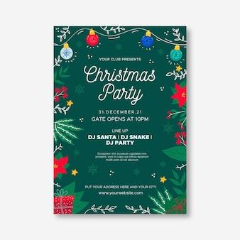 Плоский дизайн шаблона рождественской вечеринки