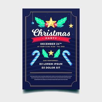 フラットなデザインのクリスマスパーティーのポスター