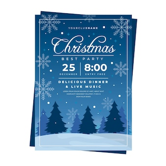 Flat design christmas party template flyer