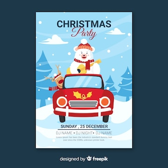 Flat design christmas party template with polar bear