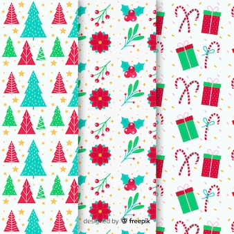 Flat design of christmas pattern collection