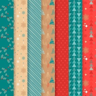 Flat designchristmas pattern collection